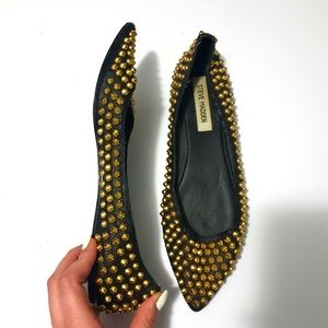 Steve Madden AUS9 leather studded pointed flats